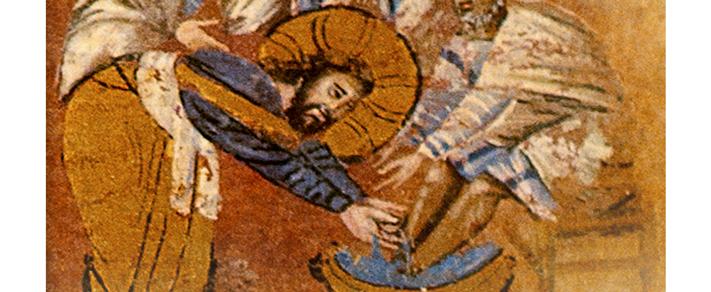 Isus, la Cina cea de Taină, spălând picioarele apostolilor